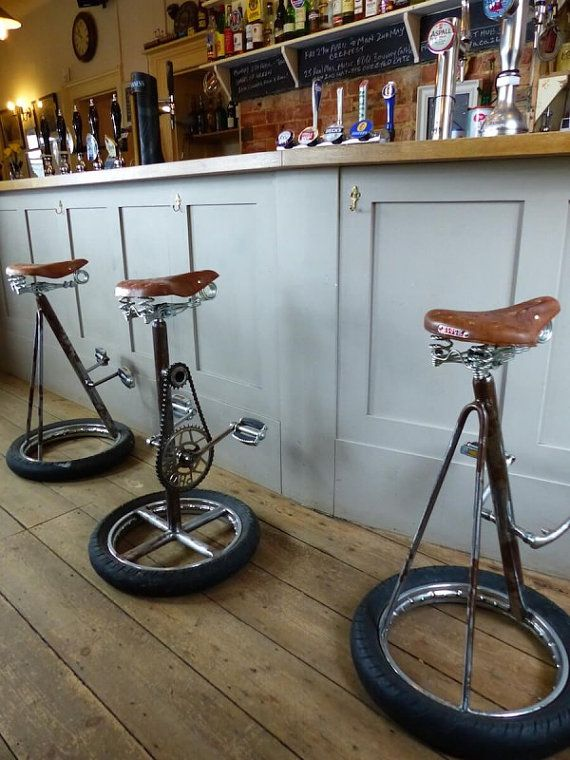 Upcycled Bike Bar Stools. Handmade and reclaimed from Old vintage bicycle parts. Our Designer Crank Bar Stools are shown in lifestyle photos, We only have 2 of these here at Smithers of Stamford HQ, however these can be commissioned at Smithers of Stamford to suit your requirements. All handmade using recycled Engineering. See more of our Upcycled Furniture and lighting in our Smithers of Stamford online store. Height 75 cm Width 35 cm Weight 12 kg