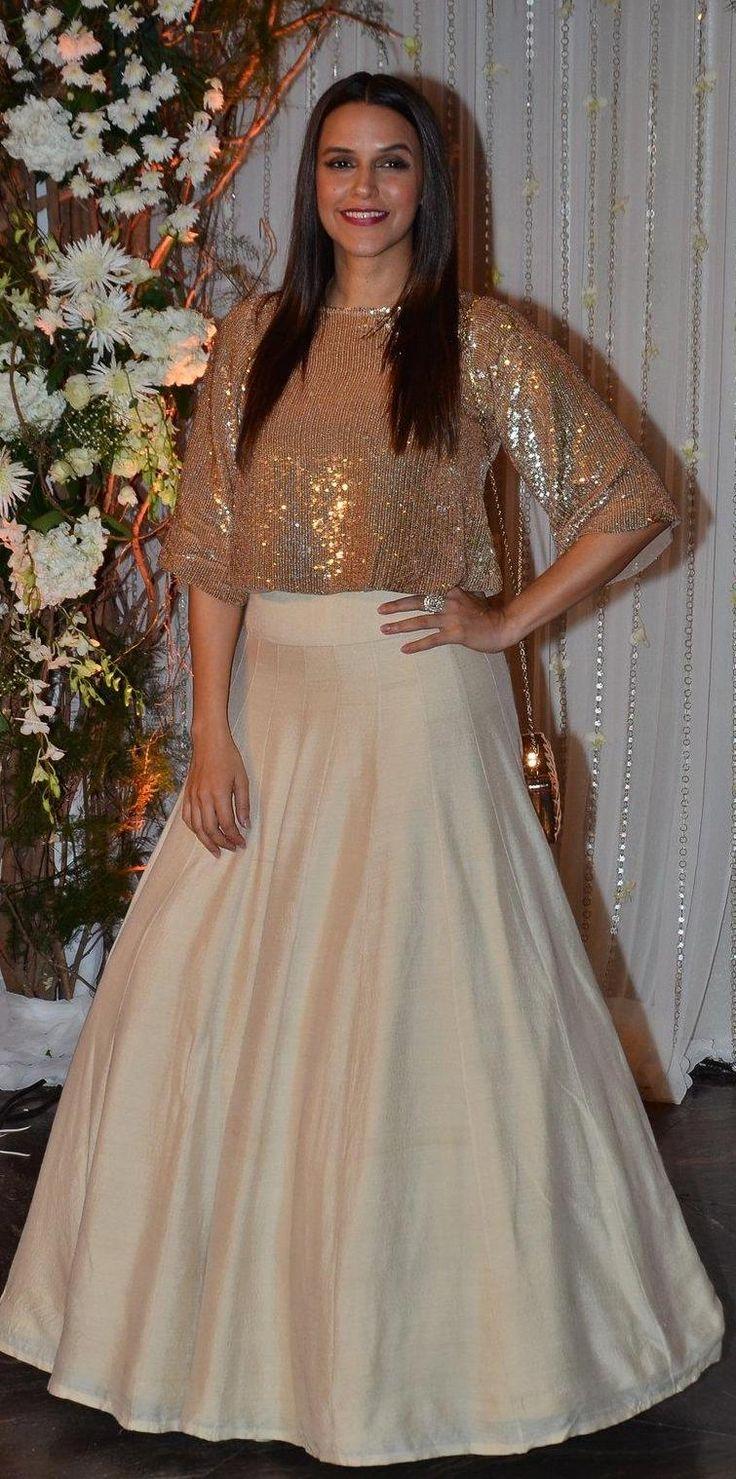 Pinterest: @Littlehub || Dreamy Lehenga's❤•。*゚|| Neha Dupia in a beautiful lehenga at Bipasha basu wedding party