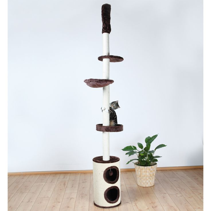 This floor-to-ceiling playground ranges in height from seven to nine feet and can be secured to the ceiling using a spring-activated ceiling attachment. This fun cat tree is wrapped in sisal and soft plush for durability and comfort.