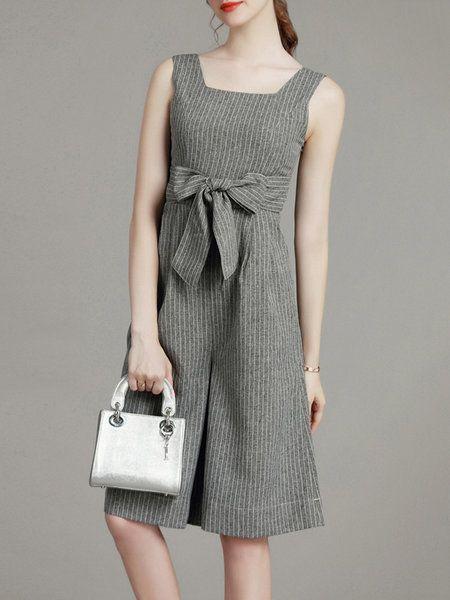 Gray Square Neck Sleeveless Stripes Bow Cotton Linen Jumpsuit