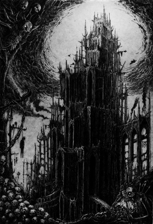 the demon prince's castle, high on a cliff, battered by the sea, full of bones, full of blood.