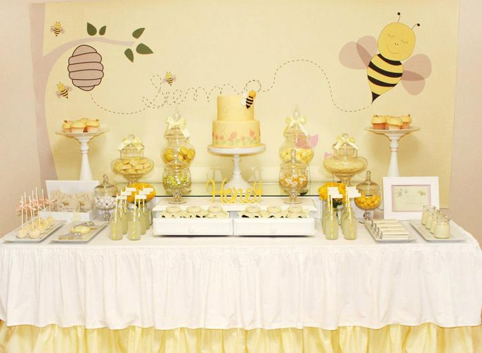 beeShower Ideas, Bees Birthday, Bees Shower, Bees Parties, Bees Theme, Parties Ideas, Honey Bees, Desserts Tables, Baby Shower