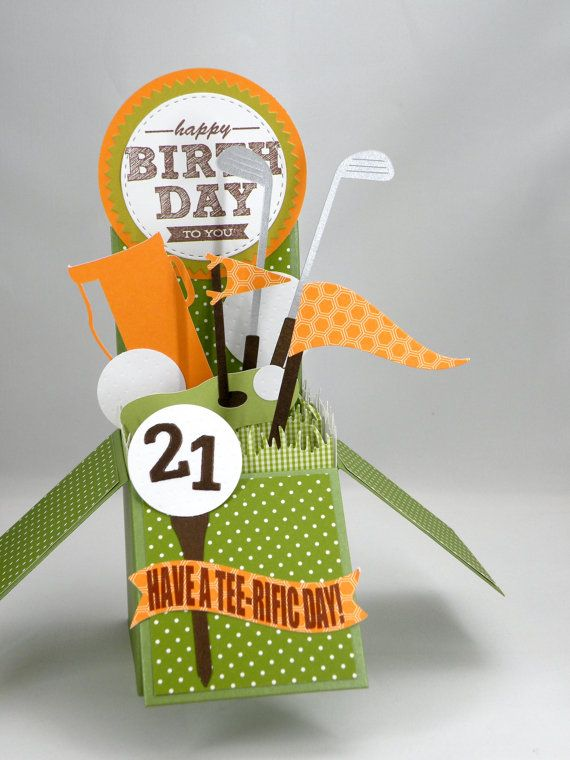 3D Golf Birthday Card, Age Card,  Box Card in Orange and Green