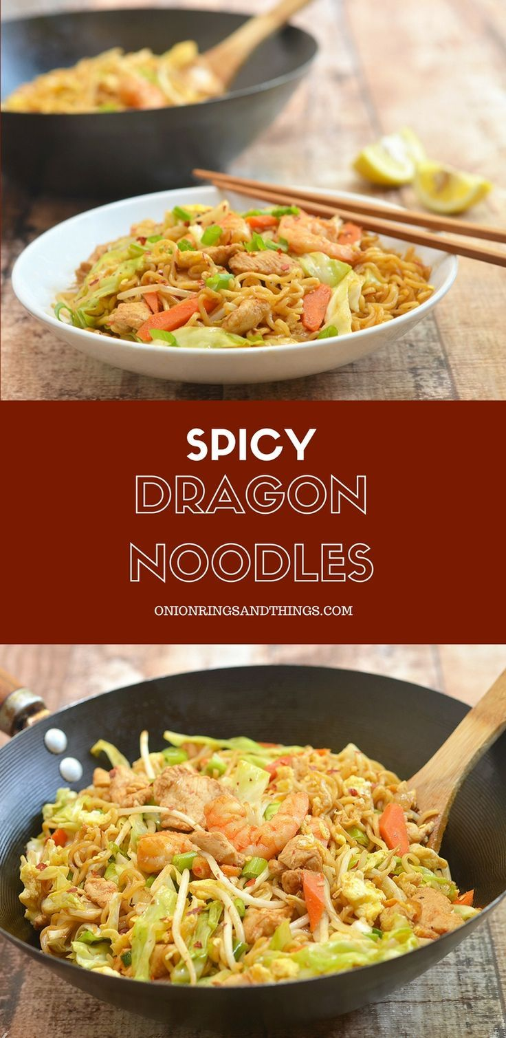 Dragon Noodles are a delicious way to turn your packages of instant ramen into a meal worthy of guests. Chock full of shrimp, chicken, and veggies, it has big flavors everyone is sure to love.