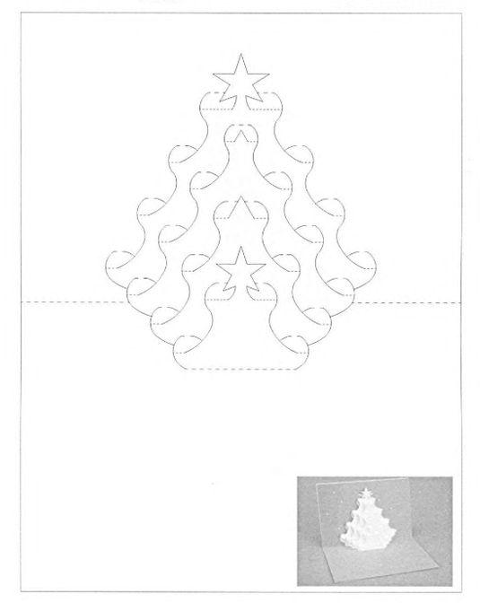 Открытки киригами шаблоны для вырезания новый год, день