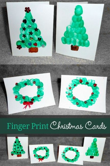 Homemade Christmas cards from the kids using finger prints