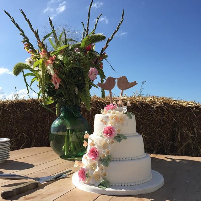Een schitterende dag voor @xfemverkelens en Johannes Hospes. Met een mooie #bruidstaart van @detaartentsjoender Wij wensen jullie alle goeds van de wereld toe! #flinkefarm