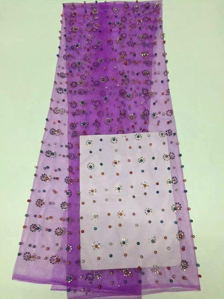 Полиэфир/хлопок материал Высокого Качества Африканская Свадьба Французский Кружевная Ткань С камни Тюль Чистая Ткань Шнурка ALC-D5692