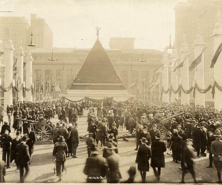 Pyramid of German helmets near Grand Central Terminal new york 1918
