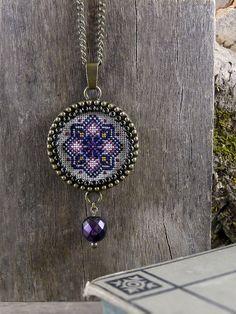 Cross stitch necklace Cross stitch jewelry Cross by TriccotraShop