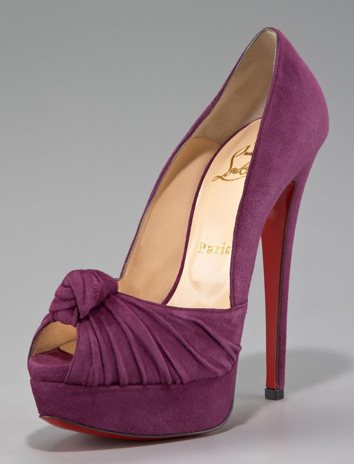 louis vuitton knock off shoes - Christian Louboutin Purple Twist Flower Suede Jenny Knotted Peep ...