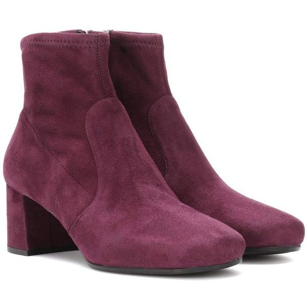Prada Suede Ankle Boots (6.160 NOK) ❤ liked on Polyvore featuring shoes, boots, ankle booties, purple, purple ankle boots, suede booties, purple suede boots, suede bootie and purple booties