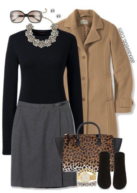 Plus Size Herringbone Skirt Work Outfit - Plus Size Fashion for Women - Alexa Webb alexawebb.com