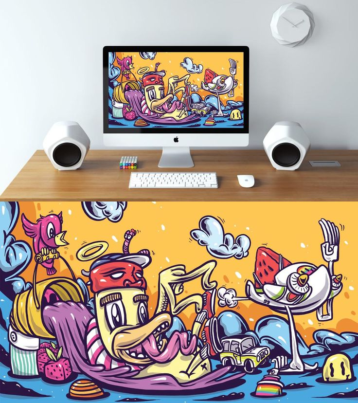 Custom illustrated wallpaper by 5PANELS. This design