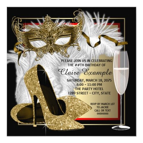 womans red and gold masquerade party invitation in 2018 masquerade