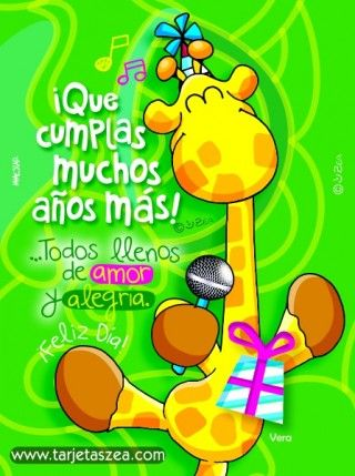 Girafa Vera con micrófono y regalo de cumpleaños© ZEA www.tarjetaszea.com