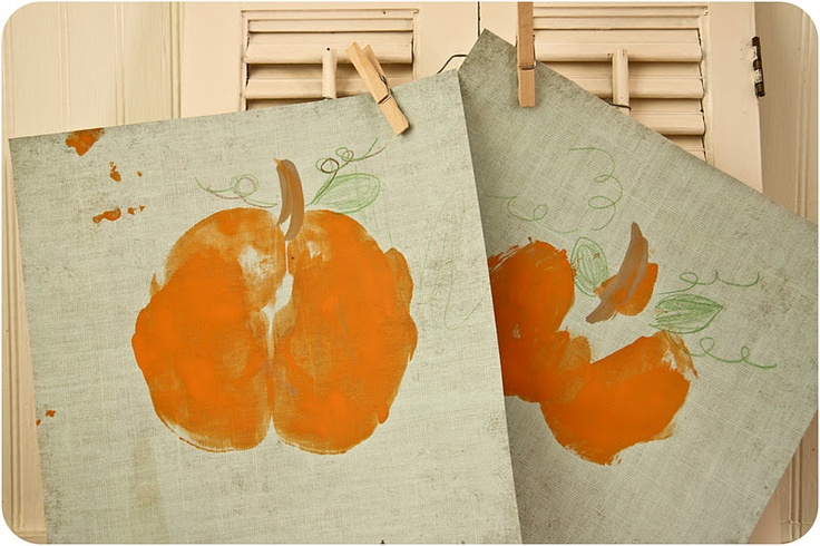 Seriously cute - paint the kids bums (orange) and have them sit down - voila - pumpkin print!  Make pumpkin with bum print and turkeys with hand prints for Thanksgiving picture to hang every year!