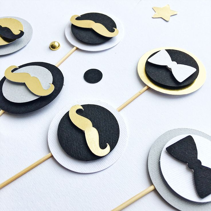 Excited to share the latest addition to my #etsy shop: Little Man Cupcake Toppers Black Gold Little Man Baby Shower Decoration Mustache Birthday Party Table Decor Black Gold Little Man Food Picks