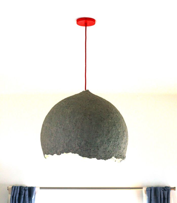 DIY: How to Make A Paper Mache Lamp - I bet this would be awesome using giftwrap or kids homemade pictures!!!