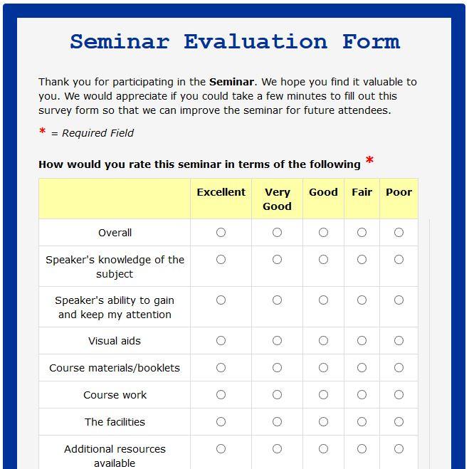 Image result for format of feedback form for seminar IDS Feedback