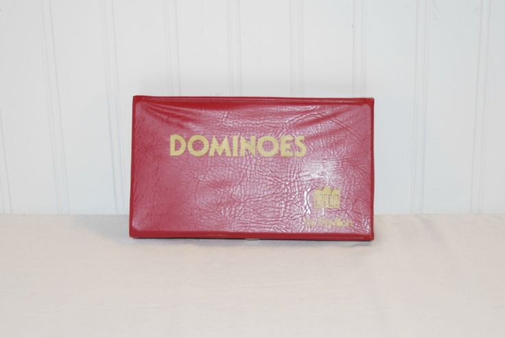 Vintage Pavilion Dominoes In Red Vinyl Case, Travel, Cabin, Vacation Game, Vintage Dominoes, Heavy Duty Dominoes  15MV91 by TooHipChicks on Etsy
