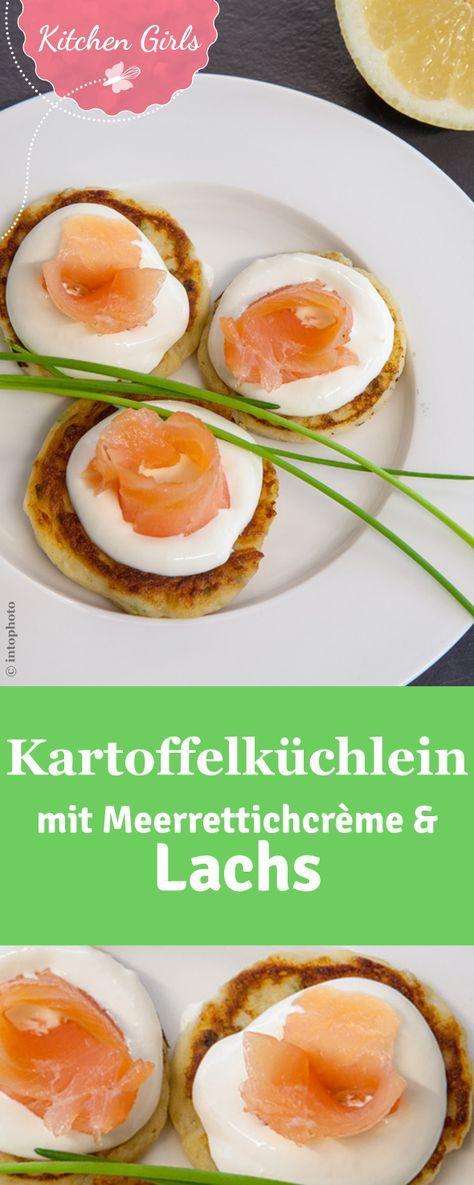 Edles Fingerfood: Unser Rezept für Kartoffelküchlein mit Meerrettichcrème und Lachs wird euch begeistern.
