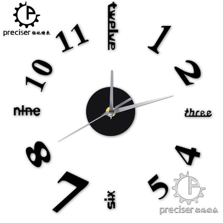 English Letters Digital Arabic Number DIY Wall Clock Modern Self-adhensive Quartz Kitchen Decor Wall Clock