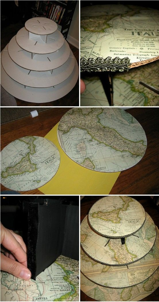 Wedding Cake Stand -- Wilton Cardboard Cake Stand (Use what ever size you need - Cover with maps (charts) and modpodge -- wipes clean