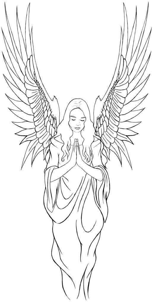 Pin By Marge Allison On Colouring Pages Angel Tattoo