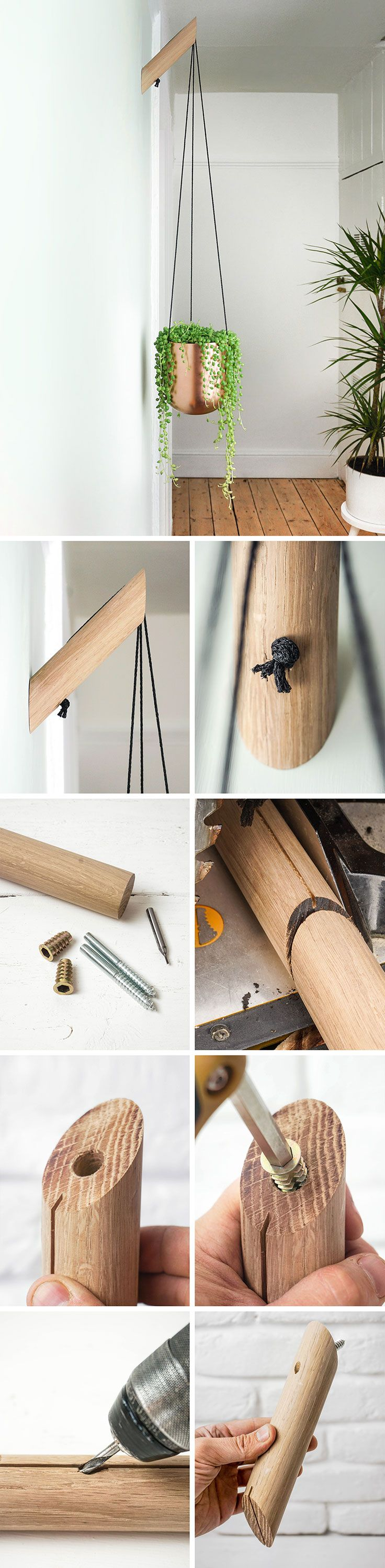String of banana plant care - A Wooden Plant Hanger Made From Oak Dowel This Simple Wall Bracket Has A Minimal