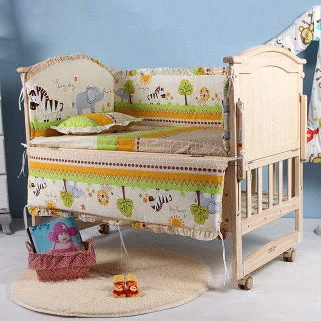 5Pcs baby crib bedding set kids bedding set 100x58cm newborn baby bed set