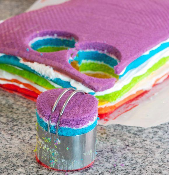 mini rainbow cake tutorial.