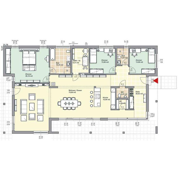 Grundriss moderner Bungalow ev planı Pinterest Bungalow, House - plan maison 170 m2 plain pied