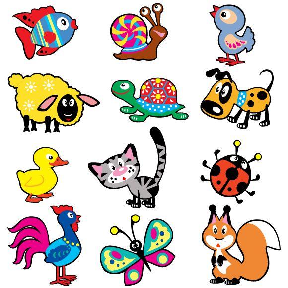 Animalitos estilo dibujo infantil en imagen normal y en vector. Los típicos dibujos que suelen verse en las paredes de las aulas de los más pequeños.