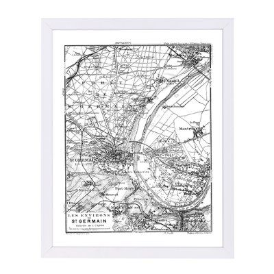 vintage paris map framed graphic art print