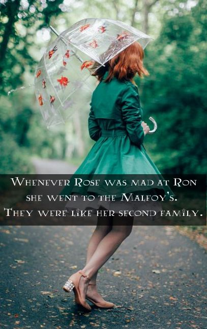 Whenever Rose was mad at Ron she went to the Malfoy's. They were like her second family. submitted by hp-nextgenerationyears