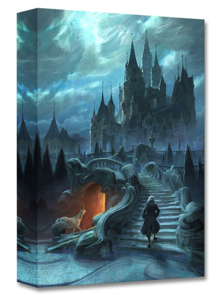 Beauty and the Beast - Castle Exterior Approach - Gallery Wrapped - Walt Disney Concepts - World-Wide-Art.com - #disney #disneyconcepts #beautyandthebeast2017 #disneytreasuresoncanvas