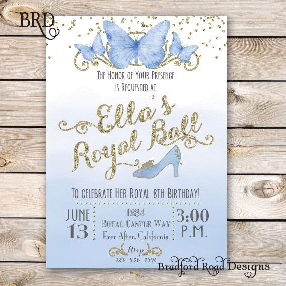 Cinderella Invitation Cinderella Party Cinderella Birthday Customizable 5x7 Printable Princess Birthday Glass Slipper Princess Watercolor