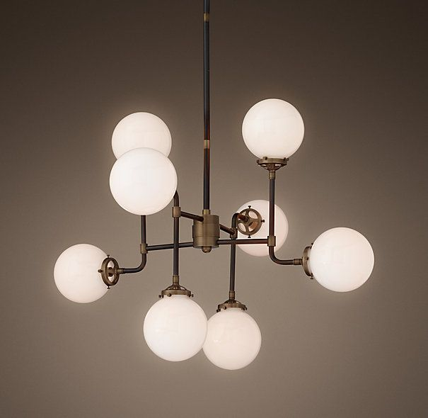Bistro Globe Milk Glass 8 Light Chandelier Restoration Hardware