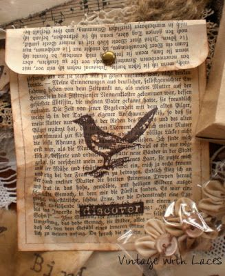 Gift bag/envelope made from old book pages  {distressed and stamped}