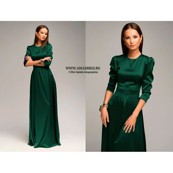 Атласное платье в пол с длинным рукавом