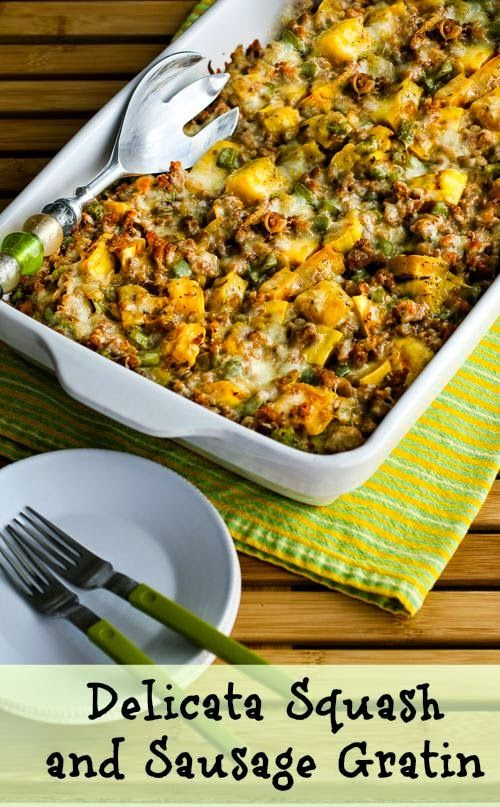 Absolutely love this Delicata Squash and Sausage Gratin, so good!  And Delicata squash is lower in carbs and higher in fiber than other types of winter squash.   [from KalynsKitchen.com] #GlutenFree #HealthyCasserole