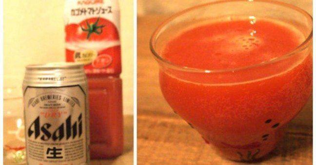 よっぱらって目が充血!  【レッドアイ】  味:ビールの苦味&炭酸とトマトジュースのマイルドさ&酸味がマッチしたカクテル  シェイカー:不要  材料:  ・ビール  ・トマトジュース  ・お好みでレモン/セロリ/氷