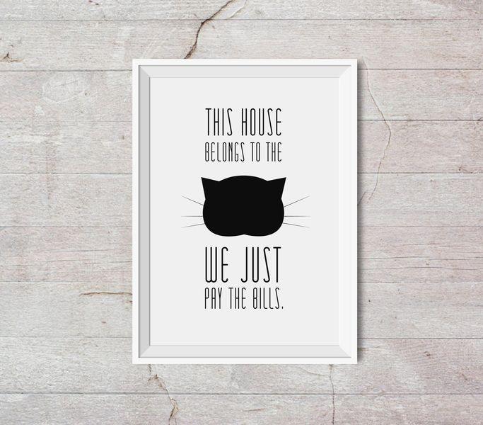 #niezchinzpasji Ten dom należy do kota - A3 - plakat typograficzny w Kate Syska Design na DaWanda.com