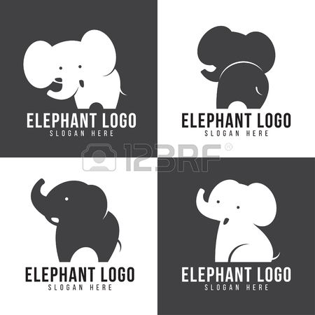 Elephant logo cute elephant 4 style and gray and white tone Stock Vector