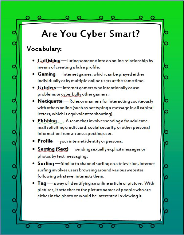 Students should be aware of these terms when online! Students should be taught HOW to use the internet as an educational resource but also know how to be safe online!