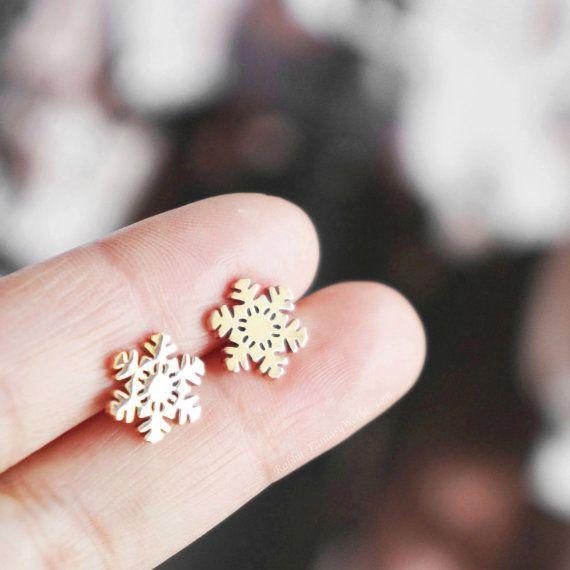 Snowflake Earrings, Snowflake, Snow Flakes, Christmas Gifts, Christmas, Gift For Women, Winter, Rose Gold, Stud Earrings, Gift, Titanium
