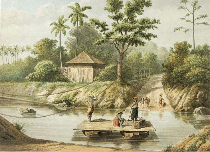 Josias Cornelis Rappard - Jasa penyeberangan dengan perahu di sungai Tjikandi
