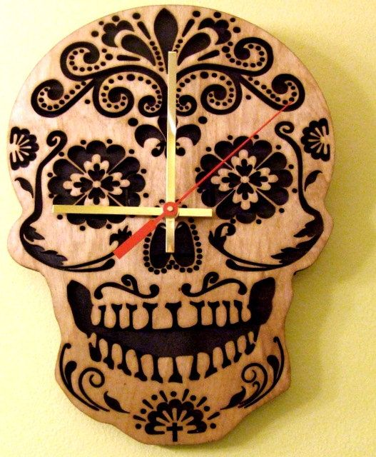 The day of dead sugar skull wooden wall clock awesome - Homemade wall clock designs ...
