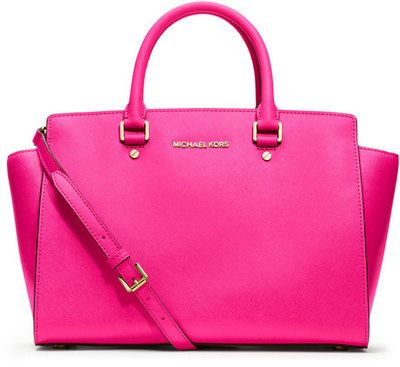 Pink is still hot for the coming season. This cerise Michael Kors tote hits a double style whammy.